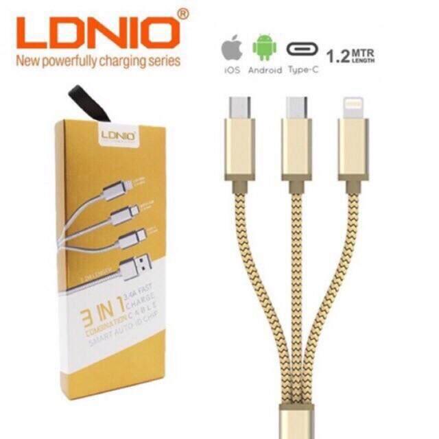 LDNIO LC85C 3.4A 3IN1 Lightning iPhone, Micro USB Android and Type-C Fast Charge Cable