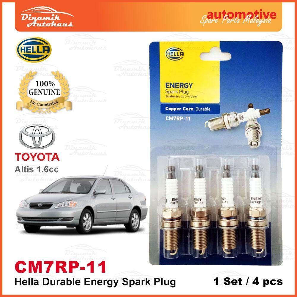Toyota Altis 1.6cc Year 2001- Model Car Spark Plug German Hella Energy CM7RP-11 (4pcs)