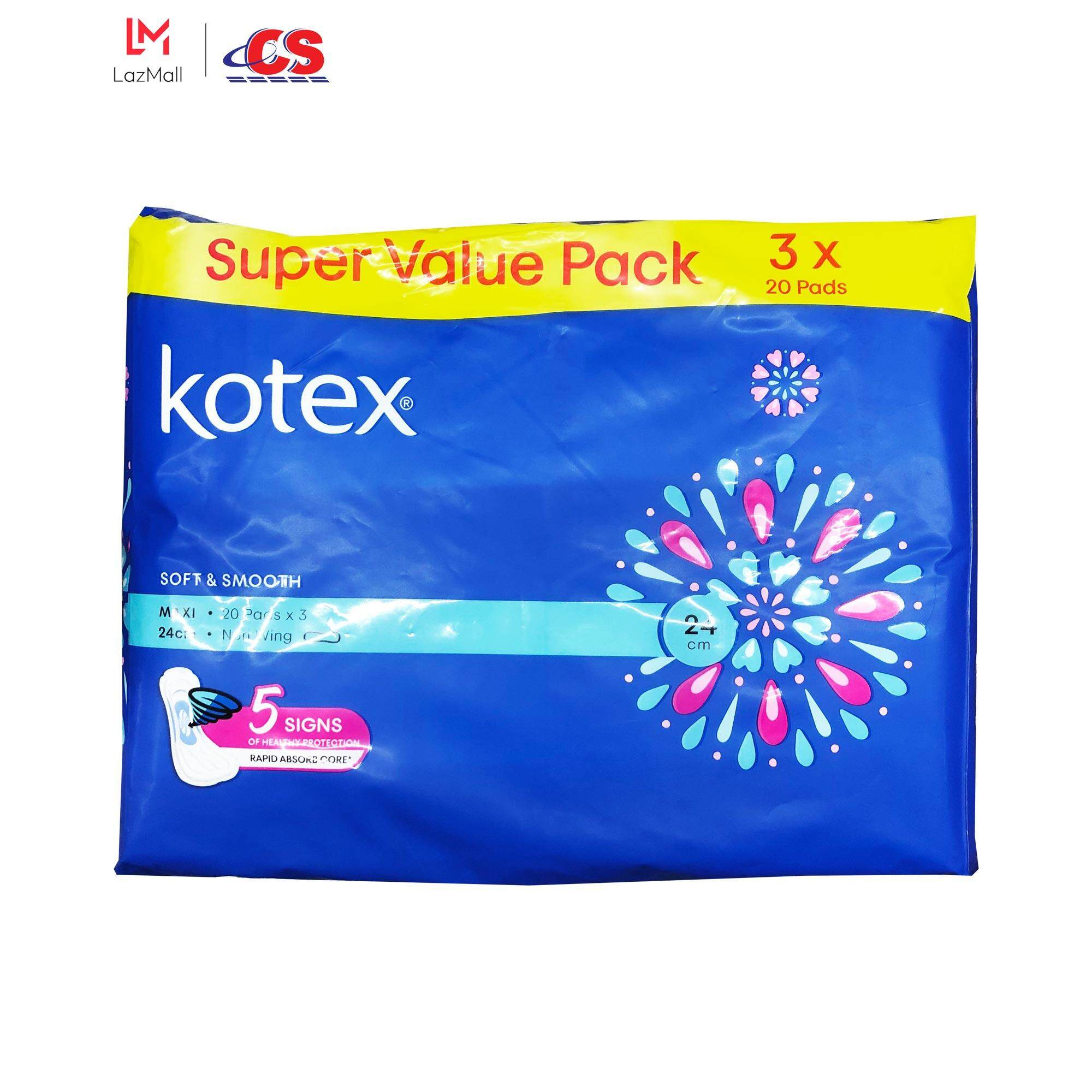 KOTEX Soft and Smooth Maxi Non Wing 24cm 3x20s