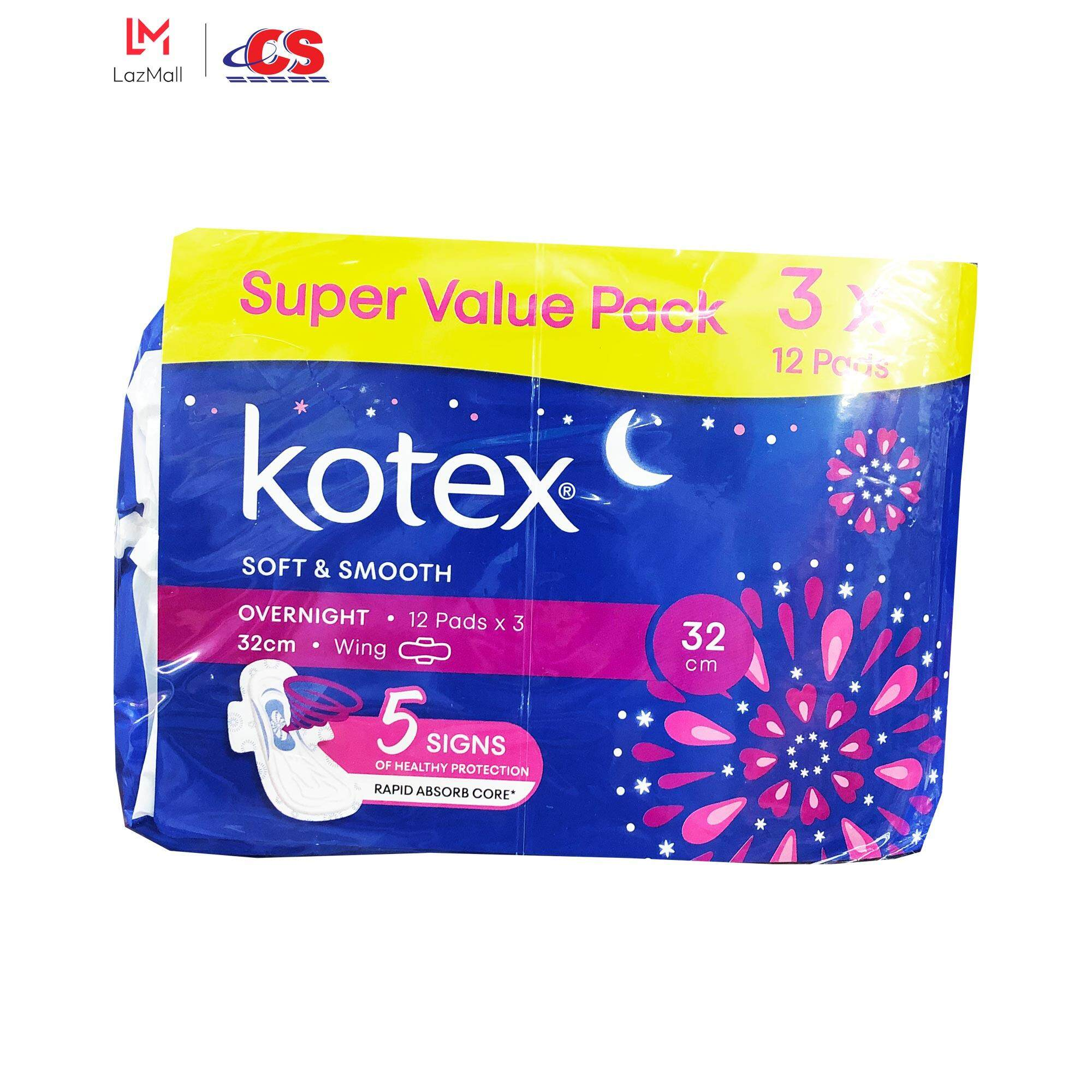 KOTEX Soft and Smooth Overnight Wing 32cm 3x12s