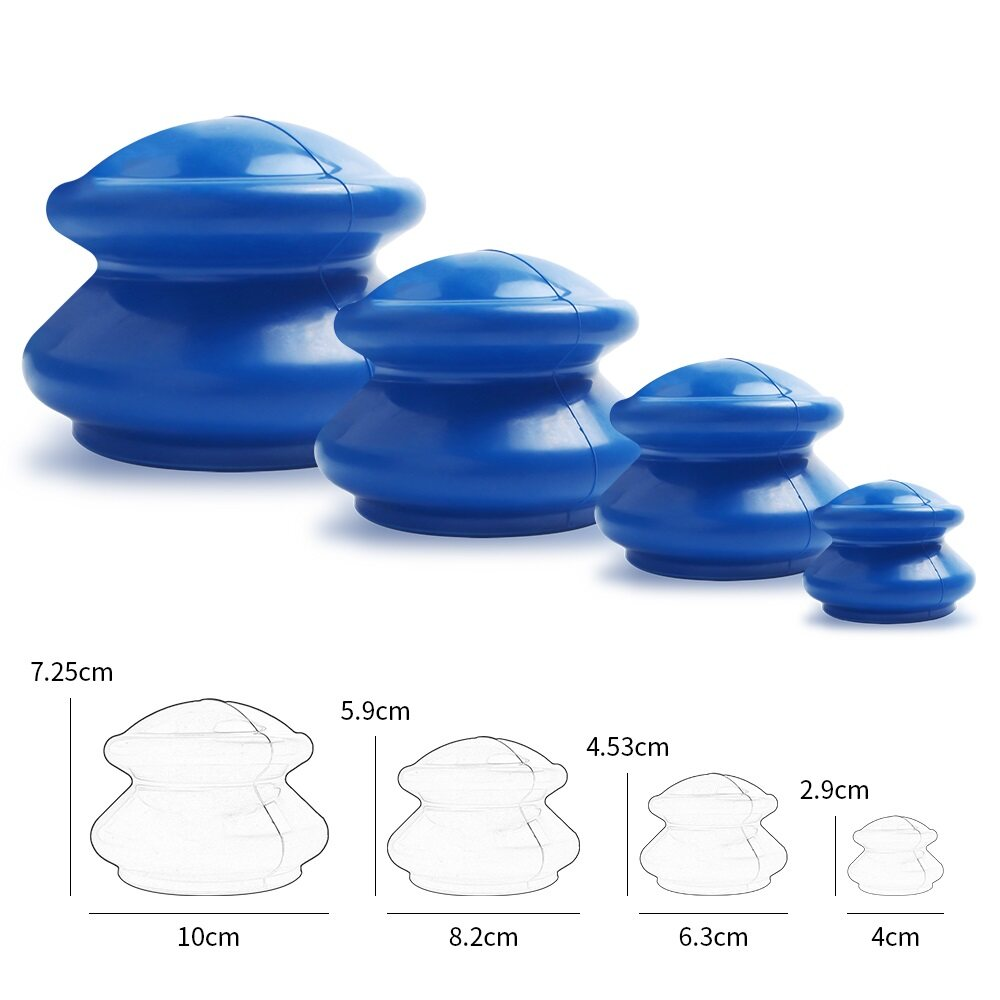 New 4Pcs Moisture Absorber Anti Cellulite Vacuum Cupping Cup Natural Rubber Family Facial Body Massage Therapy Cupping Cup Set 4 Size