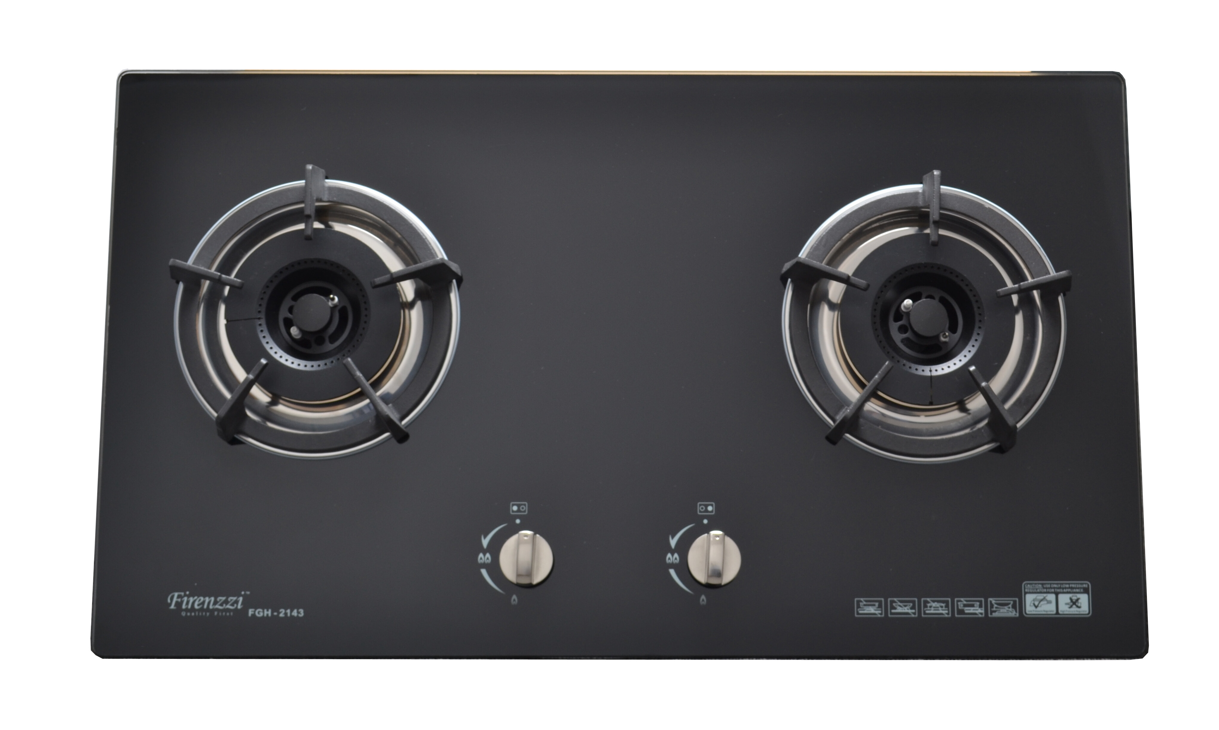 Firenzzi FGH-2043 Tempered Glass Hob with 1 Year Warranty (2 Triple Ring Burners with 4.8 Kw Power Flame)