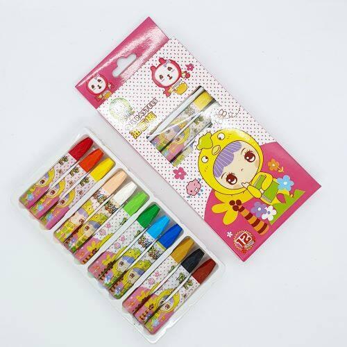 Ready Stock - 7.5 cm Long 12 Color Crayon Oil Pastels