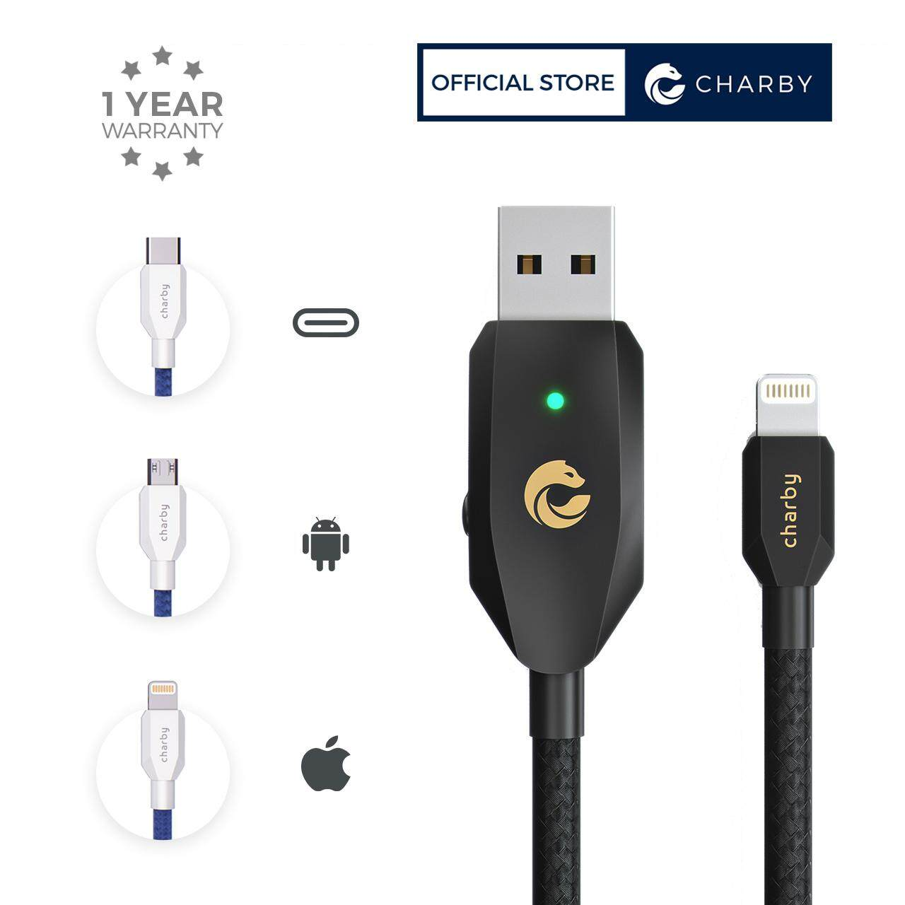 Apple Lightning / Micro USB / USB-C  - Sense Smart Auto Disconnect / Cut Off Fast Charging USB Cable / Laptop USB Charge Booster 1.2M