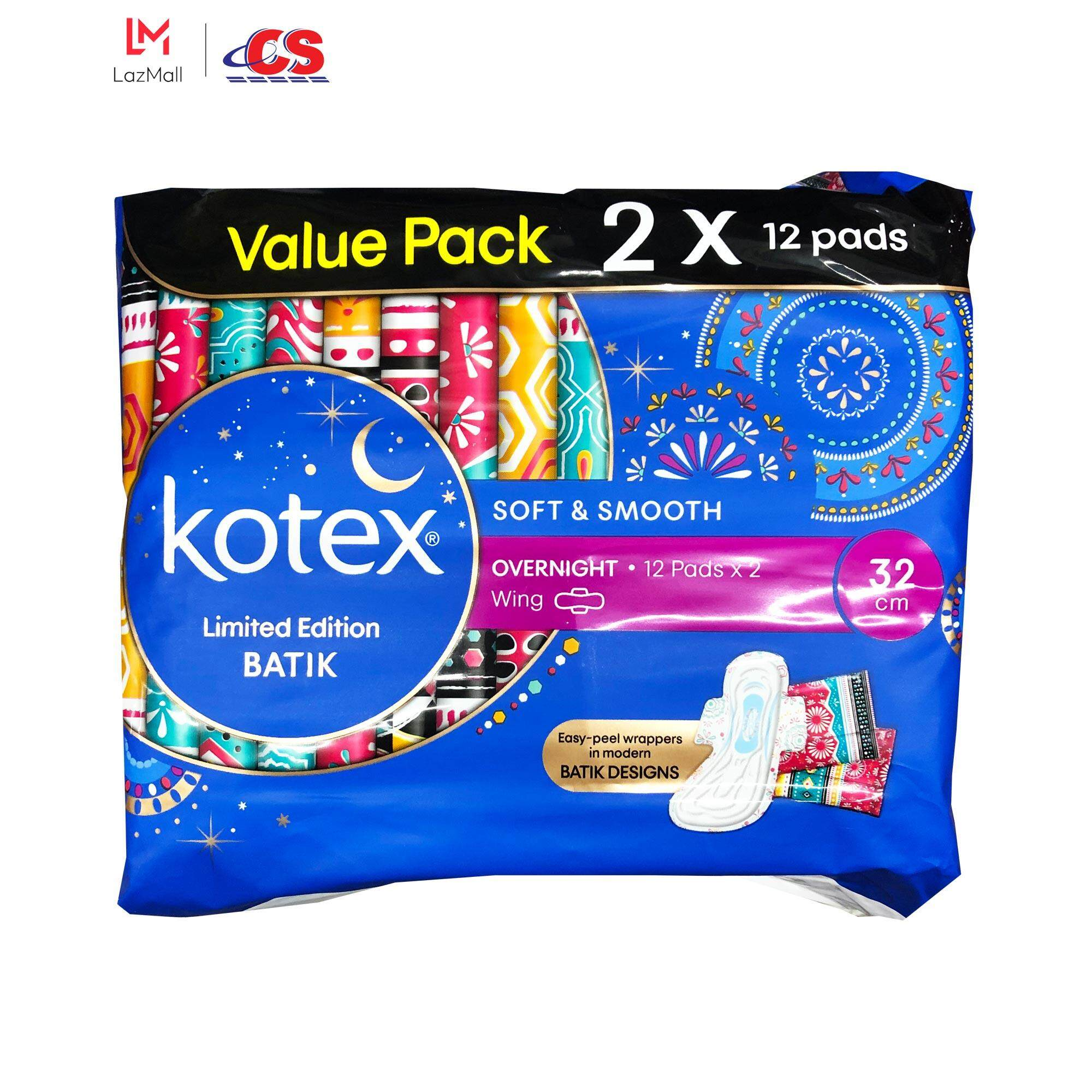 KOTEX Soft and Smooth Overnight Wing 32cm 2x12s