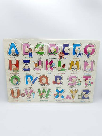 Ready Stock - Knob Wooden Puzzle For Kids Early Learning Peg Puzzle