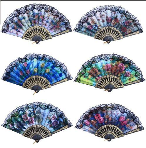 READY STOCK - Charming Spanish Folding Hand Fan With Flower Lace Dancing Wedding Party Decoration