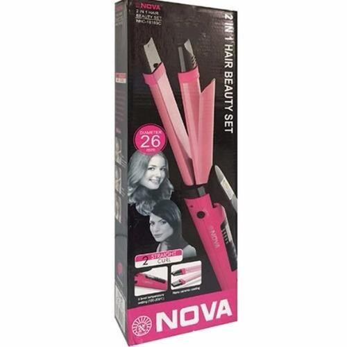 Nova 2-in-1 Hair Curler and Straightener (Pink)