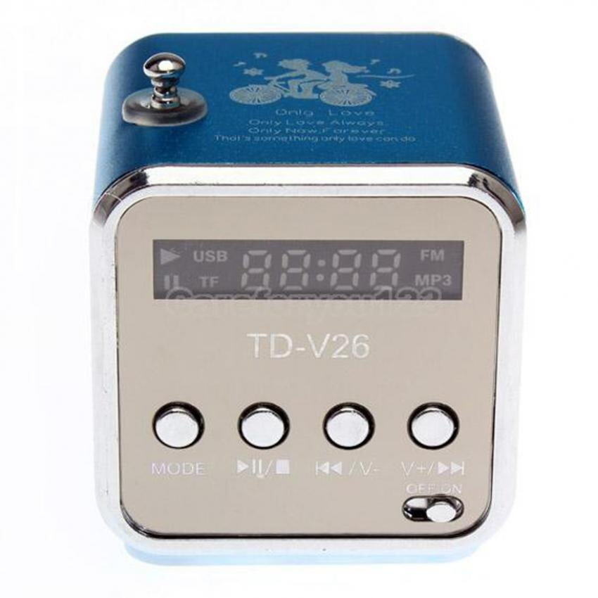 TD-V26 Radio FM Music Box With Mp3 Player Functions. Micro SD, USB, Speaker (Blue)