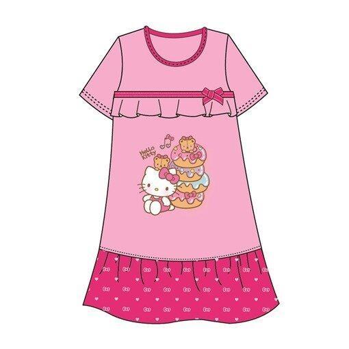 Sanrio Hello Kitty Adult Ladies Dress 100% Cotton Free Size - Pink Colour