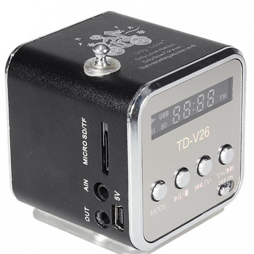TD-V26 Radio FM Music Box With Mp3 Player Functions. Micro SD, USB, Speaker (Black)