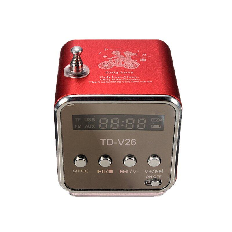 TD-V26 Radio FM Music Box With Mp3 Player Functions. Micro SD, USB, Speaker (Red)
