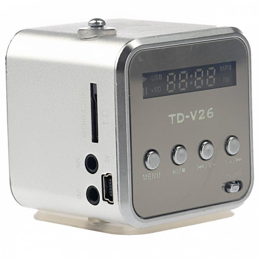 TD-V26 Radio FM Music Box With Mp3 Player Functions. Micro SD, USB, Speaker (Silver)