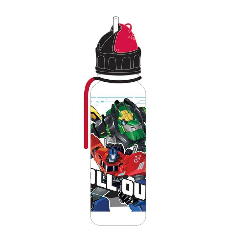Transformers 650ML Tritan Bottle With Straw - Black Colour