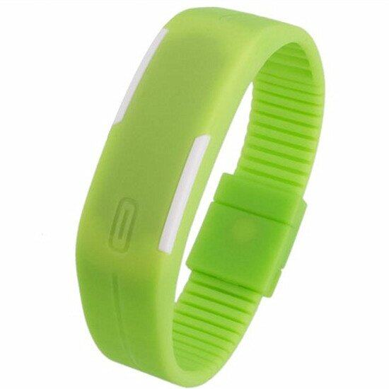 Unisex Digital LED Wrist Bracelet Watch Sports Jogging Gym Hiking Camping Fashion (Green)