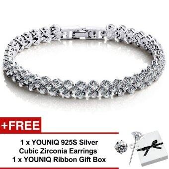 YOUNIQ Dazzling Platinum Plated Silver Bracelet FREE 925S Silver CZ Earrings (White)