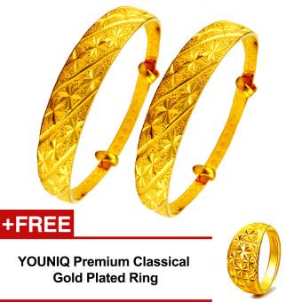 YOUNIQ Premium Classical 24K Gold Plated 2 Units Bangle Set Free YOUNIQ Gold Plated Ring