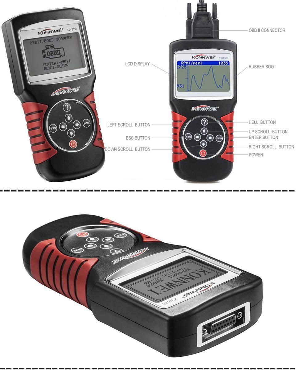 KW820 Car Scanner Tool EOBD OBD2 OBDII Diagnostic Code Reader Check Engine  Scan JY-M