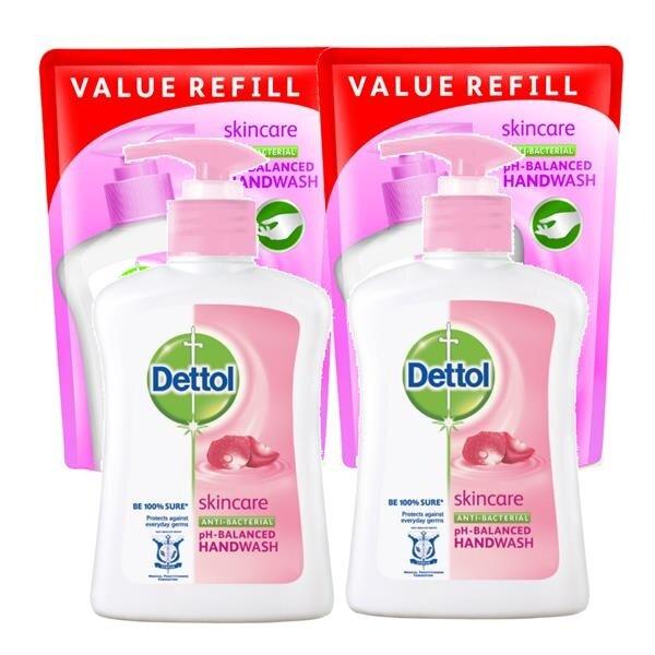 Dettol Skincare Hand Soap 4X250ml + Refill 4X 225ml