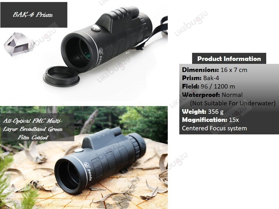 15x50 smart phone camera zoom lens & monocular telescope with tripod