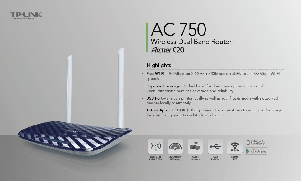 TP-LINK - ARCHER C20, AC750 Wireless Dual Band Router