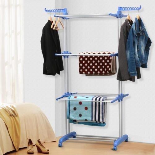 Blue Clothes Dryer ~ Blue tier large clothes foldable dryer hanging rack