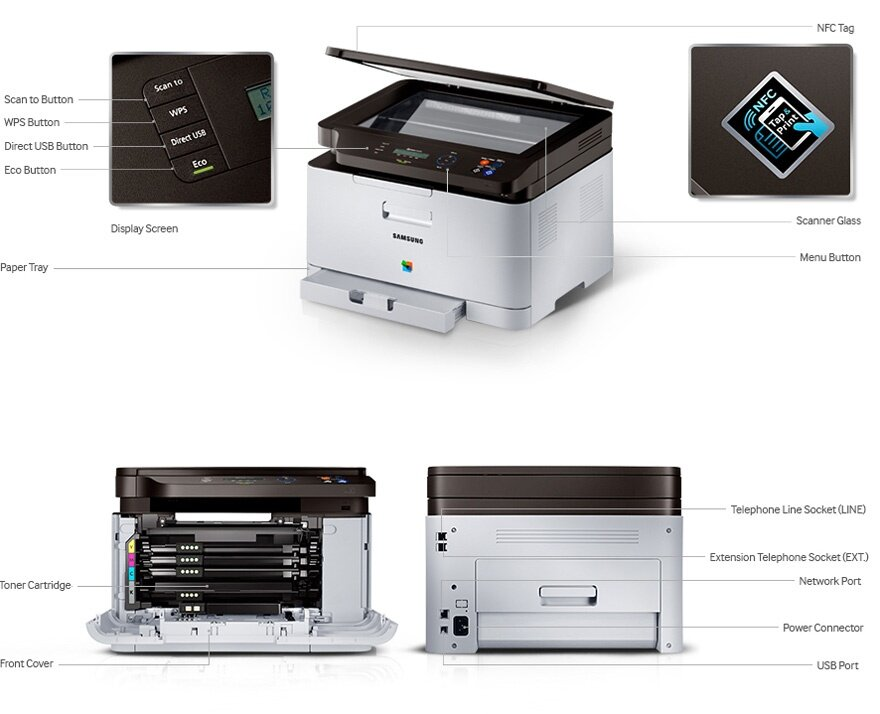 samsung sl c460w wifi colour laser 3 in 1 printer lazada. Black Bedroom Furniture Sets. Home Design Ideas