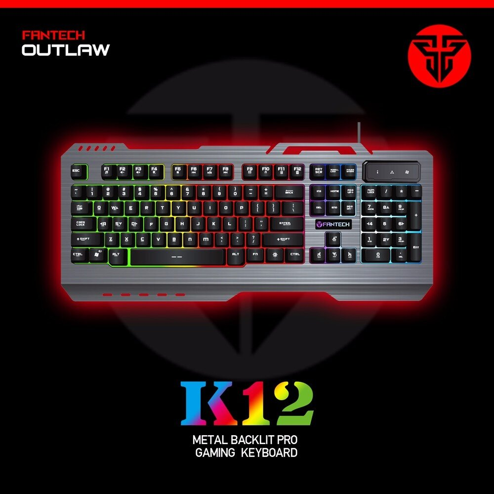 Product details of Fantech K12 Metal Body Chroma Luminous Light Backlit Gaming Keyboard and Fantech KAEL V2 Wired Gaming Mouse (White) with Fantech SVEN ...