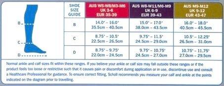 Scholl Flight Socks Unisex Black Sizing Chart