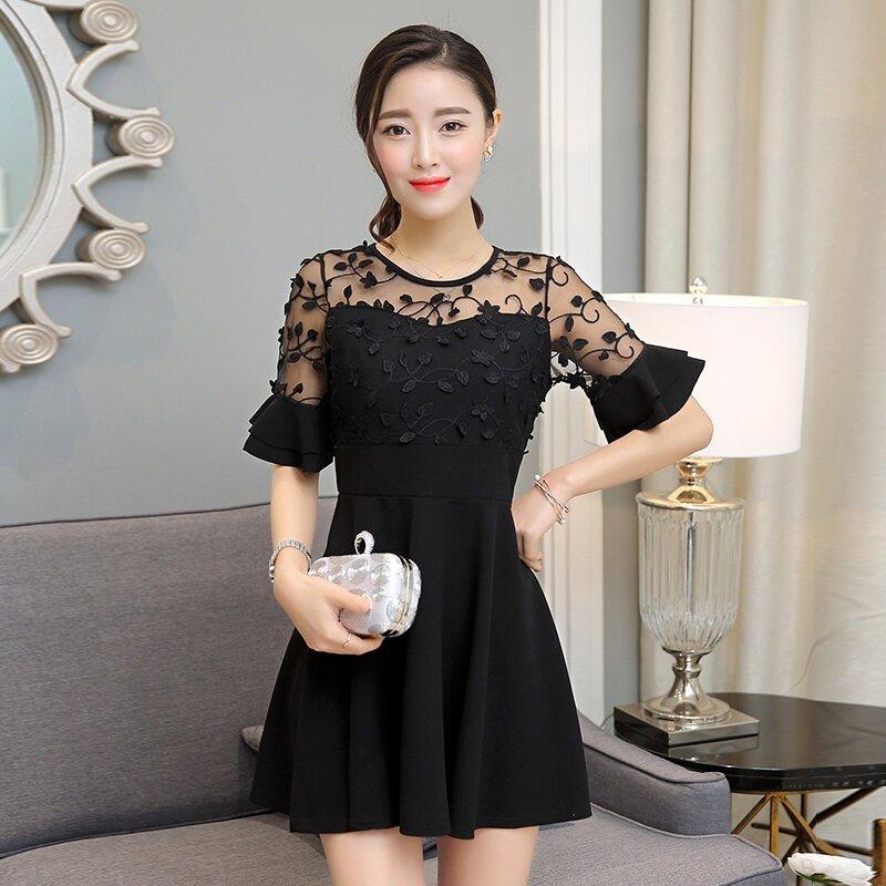 Fashion Women Korean Style Embroidery Midi Lacy Dress