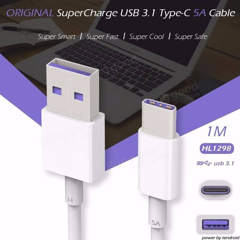 Original Huawei 4.5V/5A SuperCharge Type-C Cable for Huawei Mate9 Xiaomi 5
