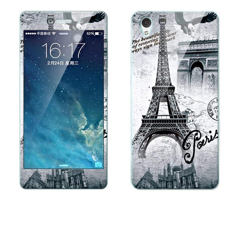 Luxury 3D Painting Front+Back Full Case Cover Color Tempered Glass Case For Vivo Y51A