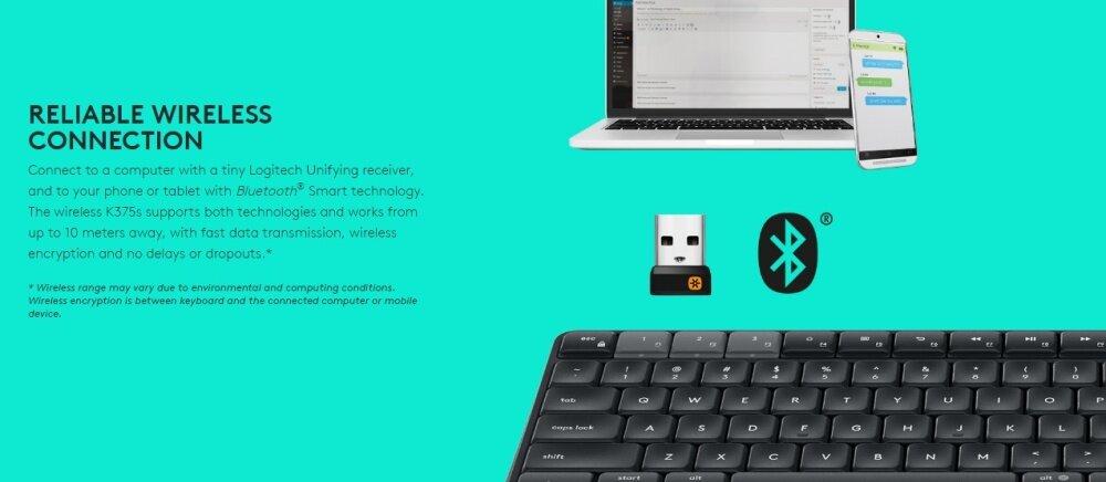 Logitech Multi-Device Wireless Keyboard and Stand Combo - K375s