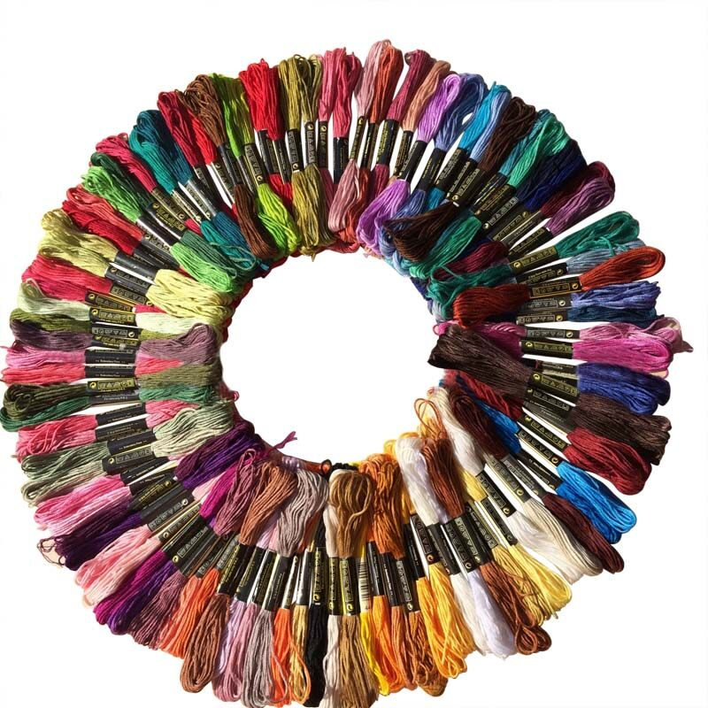 50 Embroidery Sewing Thread Skeins Floss Mixed Colours 100/% Cotton