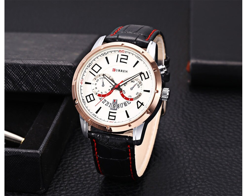 Curren 8140 Male Calendar Quartz Watch Luminous Men Wristwatch
