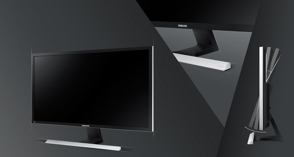 Sophisticated design in matte black & T-shaped stand with a metallic touch