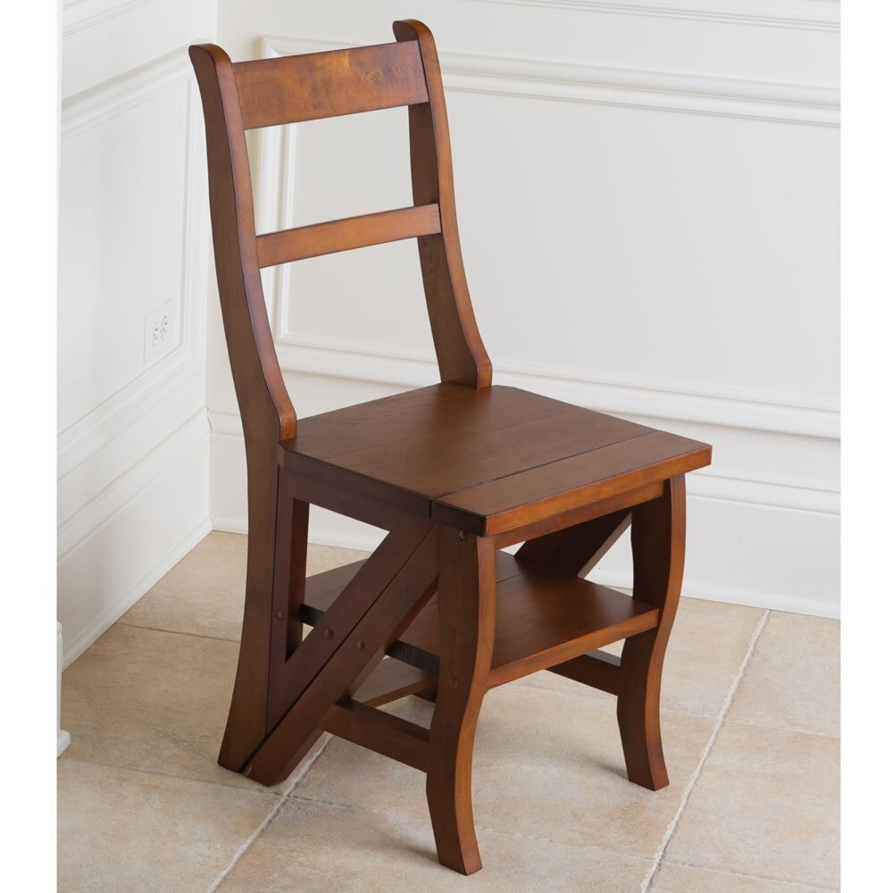 Hometech2u Wooden Step Ladder Dining Chair Library Step