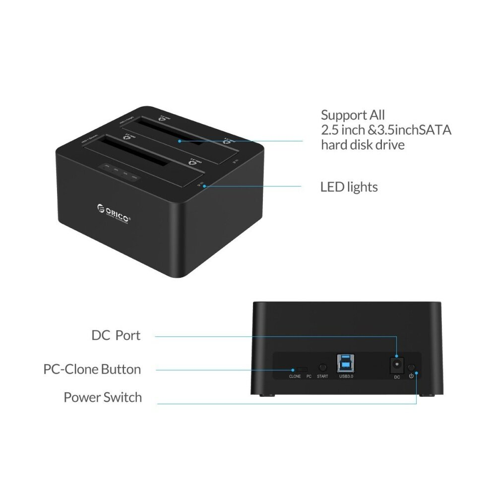 Orico 6629us3 Dual Bay 25 Inch 35 Usb 30 To Sata 6218us3 Hdd Dock 1 What Is In The Box 1x 2 Bays Usb30 Docking Station 12v4a Ac Power Adapter Us Eu Uk Plug According Your Country Cable User