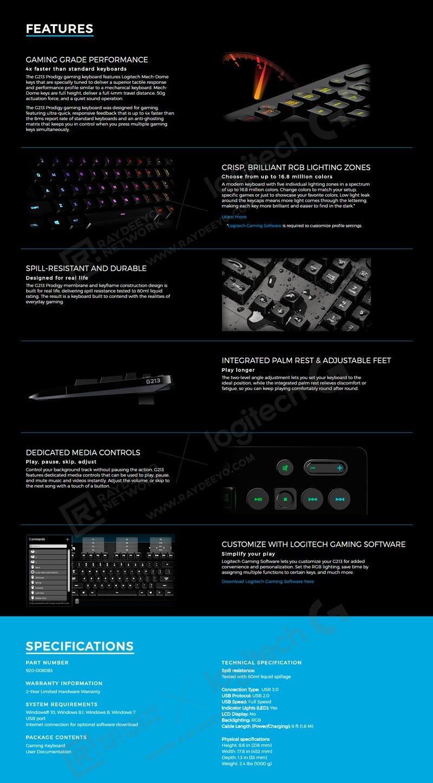 LOGITECH G213 Prodigy Gaming Keyboard & G300S Gaming Mouse - PROMO