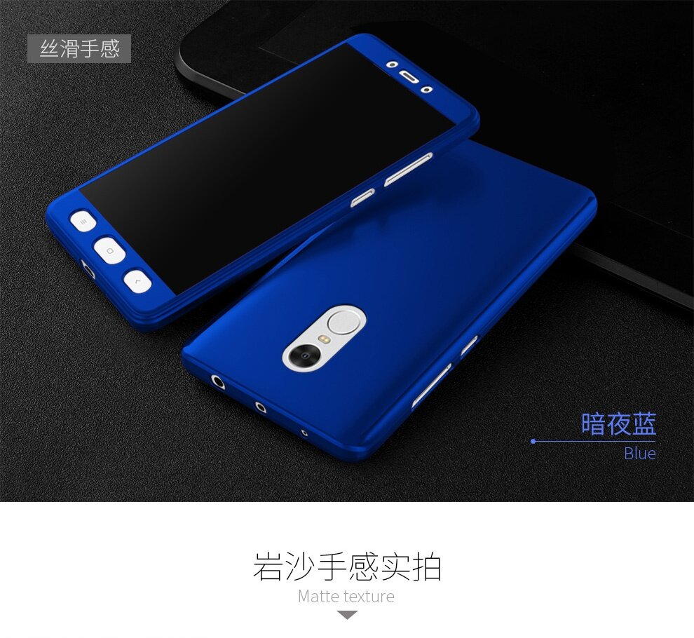 """... Full Body Protection Cover Case For Xiaomi Redmi Note 4 5.5"""" inch With Tempered Glass Phone Capa coque Cases Back. Source · Comfortable to hold, easy to ..."""