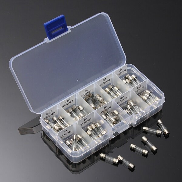 100pcs 5x20mm quick fast blow glass assorted fuse amp 0