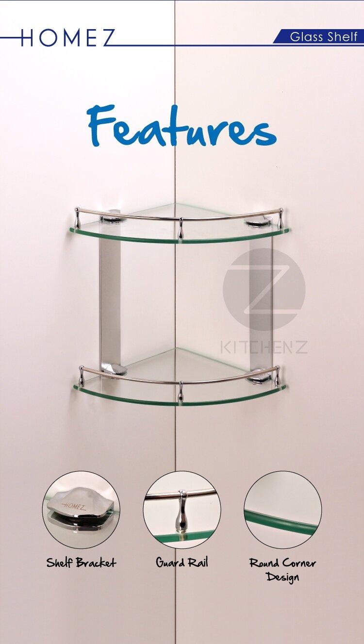 Homez Bathroom Corner Glass Shelf JQS-A4225 100% Stainless Steel ...