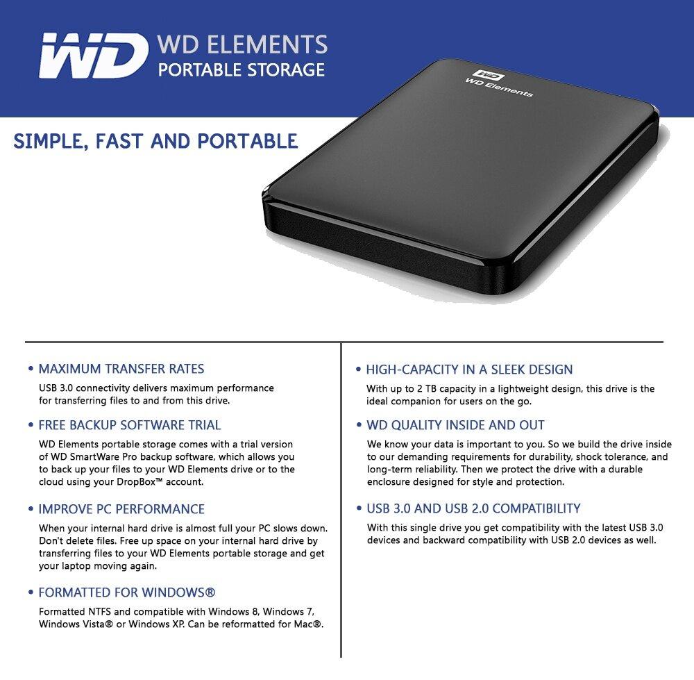 Wd Western Digital Elements 2tb Portable External Hard Drive Hdd Usb Harddisk Eksternal 30 Specifications Of Pc Mac Black