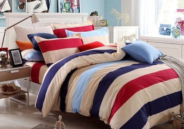 GTE 3 In 1 Queen Size Bed Sheet Stripe Lazada Malaysia
