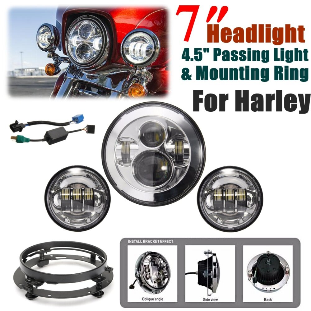 Buy Generic For Harley Chrome 7 Led Headlight Projector Daymaker Headlamp Wiring Harness Image