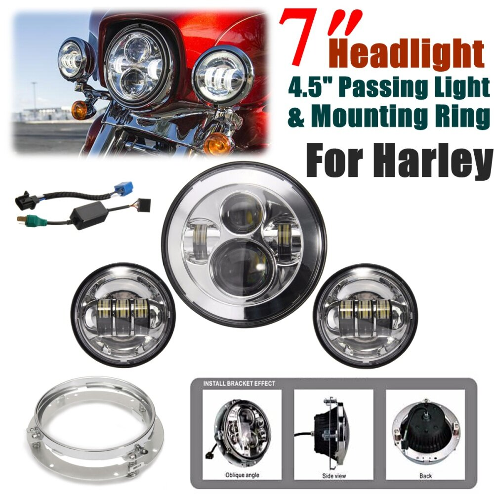 Generic 7'' LED Chrome Projector Daymaker Headlight + 2x 4.5 ... on