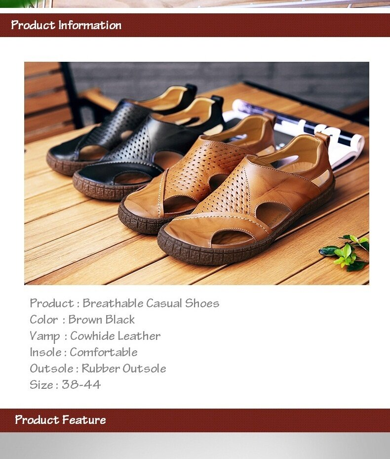 54867c561dc70d Specifications of 2017 Summer New Men Sandals Genuine Leather Fashion  Casual Shoes Slippers Breathable Beach Sandals