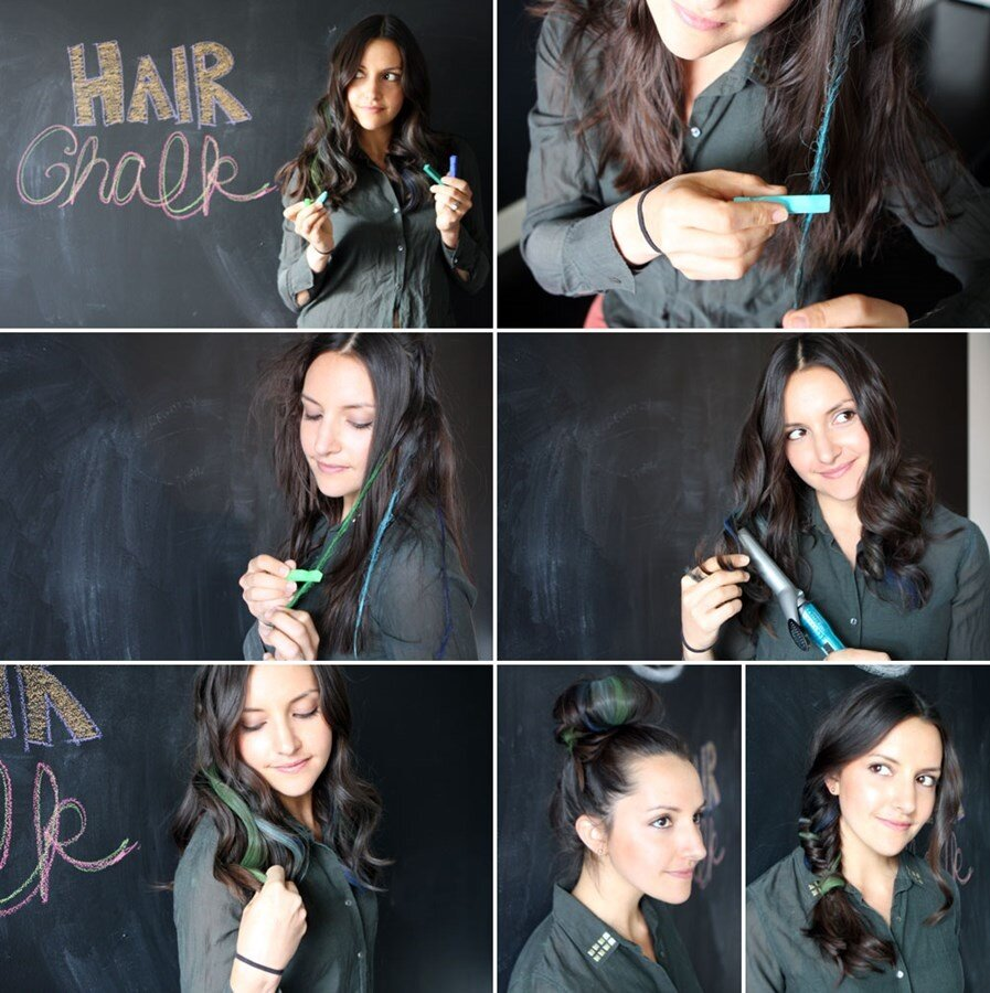 Hair Chalk - How to make colored strands in hair with pastel chalk photo tutorial step by step