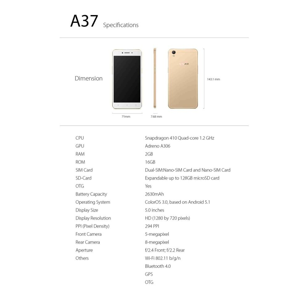 Oppo A37 Beautify 40 1 Year Warranty By Malaysia 7a 16gb Putih Specifications Of