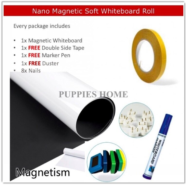 100cm*60cm 0.65mm thick magnetic whiteboard roll sticker white board